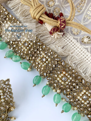 Chasing the Sunset - Mint, Necklace Sets - THE KUNDAN SHOP