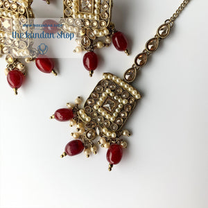 In the Clouds - Ruby, Necklace Set - THE KUNDAN SHOP