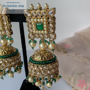 Square Dance - Green, Earring + Tikka - THE KUNDAN SHOP