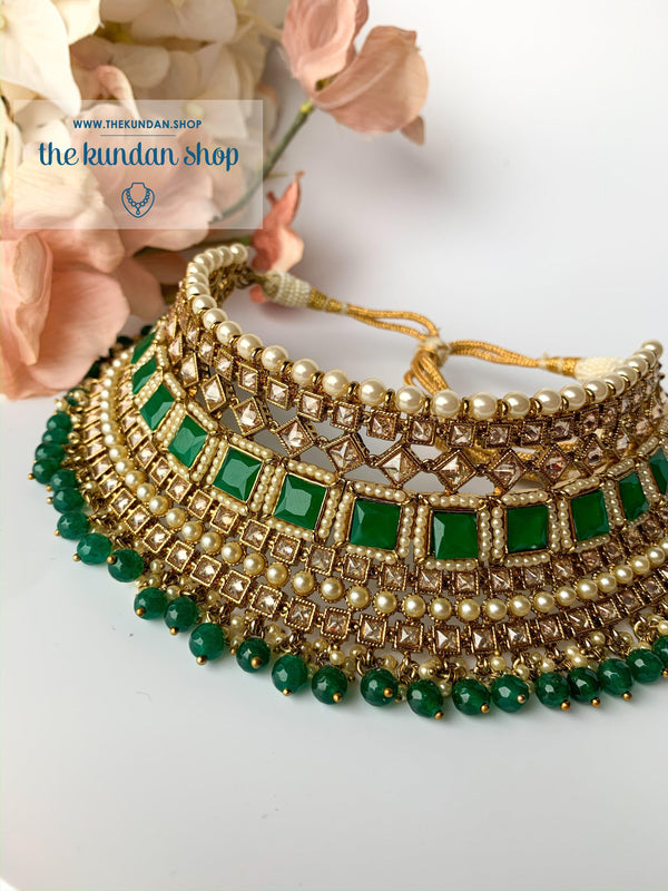 Luring in Green, Necklace Sets - THE KUNDAN SHOP