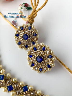 Full Bloom - Blue, Necklace Sets - THE KUNDAN SHOP