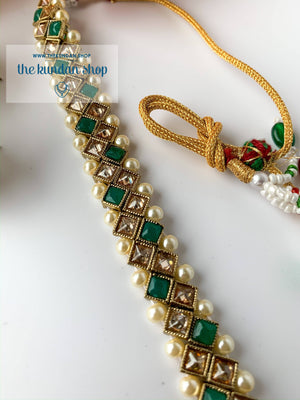 Full Bloom - Green, Necklace Sets - THE KUNDAN SHOP