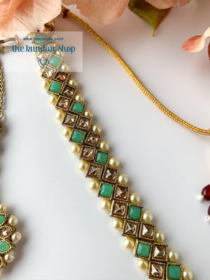 Full Bloom - Mint, Necklace Sets - THE KUNDAN SHOP