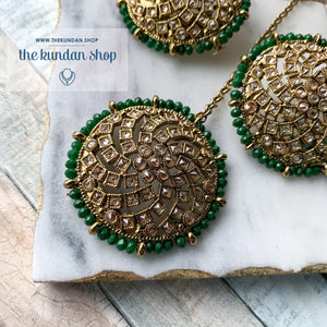 Winter Blues - Green, Earrings + Tikka - THE KUNDAN SHOP