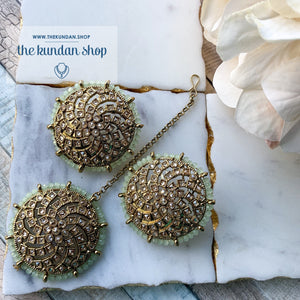 Winter Blues - Mint, Earrings + Tikka - THE KUNDAN SHOP