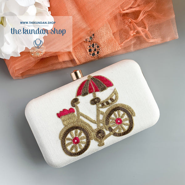 Tag Along in Pearl, Clutch - THE KUNDAN SHOP