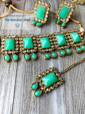 About Last Night - Teal, Necklace Sets - THE KUNDAN SHOP