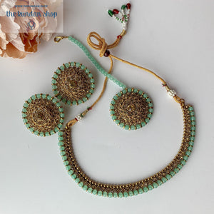 Line &  Studs - Pastel Green, Necklace Sets - THE KUNDAN SHOP