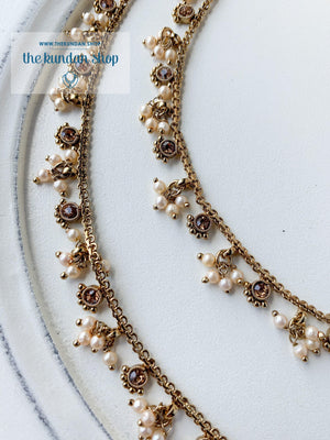 Single Stone & Pearl Anklets, Anklets - THE KUNDAN SHOP