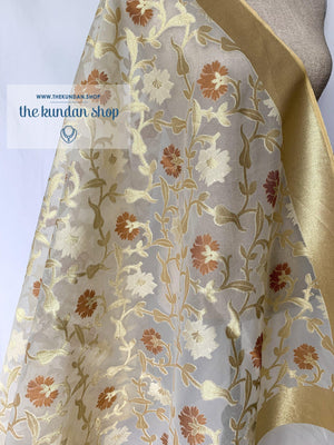 Counting the Days - Cream & Gold, Dupatta - THE KUNDAN SHOP