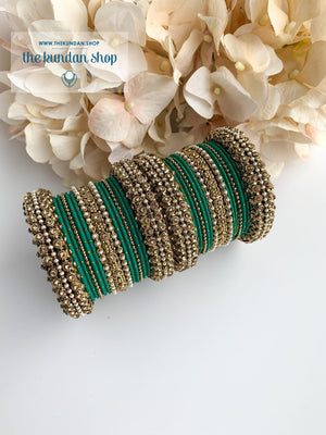 Dotted Bangle Set in Pearl & Turquoise Bangles THE KUNDAN SHOP