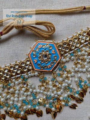 Ethereal in Blue & Gold Necklace Sets THE KUNDAN SHOP