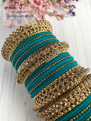 Turquoise Velvet & Bronze Bangle Set Bangles THE KUNDAN SHOP
