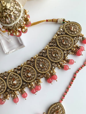 Ideal in Watermelon Pink Necklace Sets THE KUNDAN SHOP