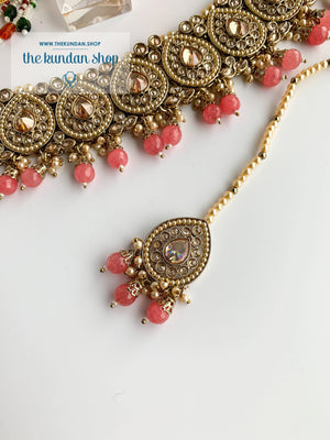 Ideal in Watermelon Pink Necklace Sets THE KUNDAN SHOP Pearl Tikka String