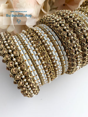 Dotted Bangle Set in Pearl & White Bangles THE KUNDAN SHOP