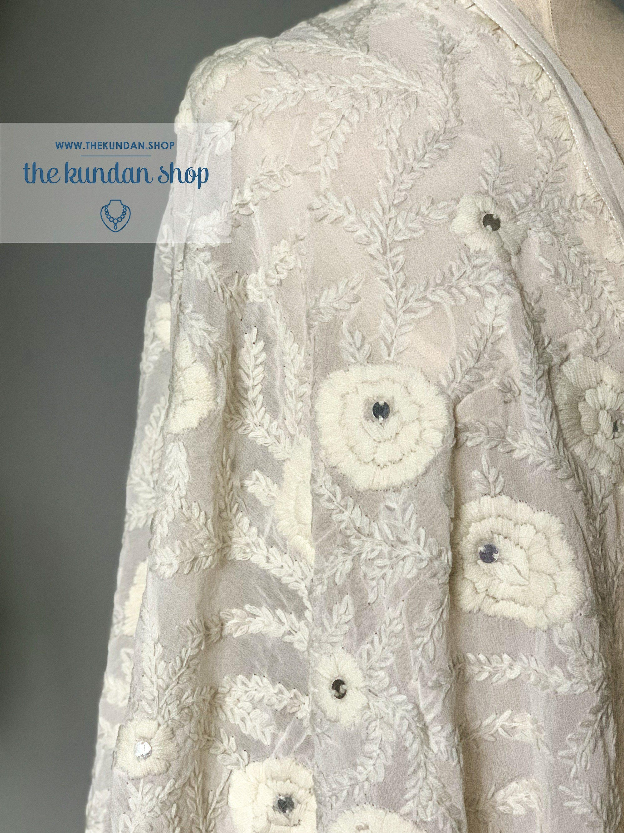 Hidden Flowers, Dupatta - THE KUNDAN SHOP