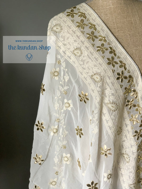 Around In Petals - White, Dupatta - THE KUNDAN SHOP
