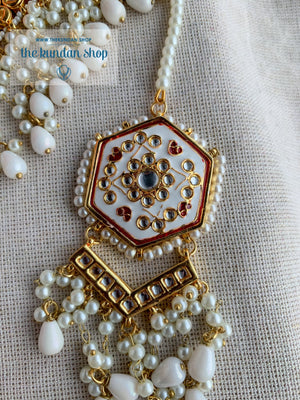 Ethereal in White & Red Necklace Sets THE KUNDAN SHOP
