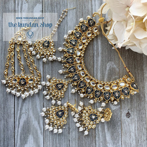 Wisp of Kundan - Dark Grey, Necklace Sets - THE KUNDAN SHOP