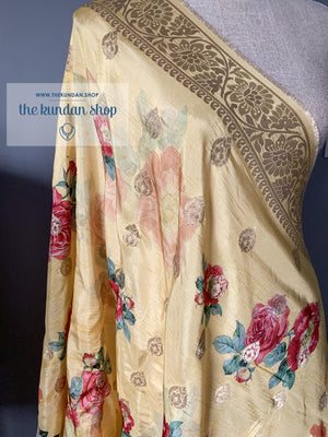 Banarsi Floral - Yellow, Dupatta - THE KUNDAN SHOP
