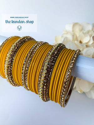 Rhinestone & Matte Yellow Bangles, Bangles - THE KUNDAN SHOP