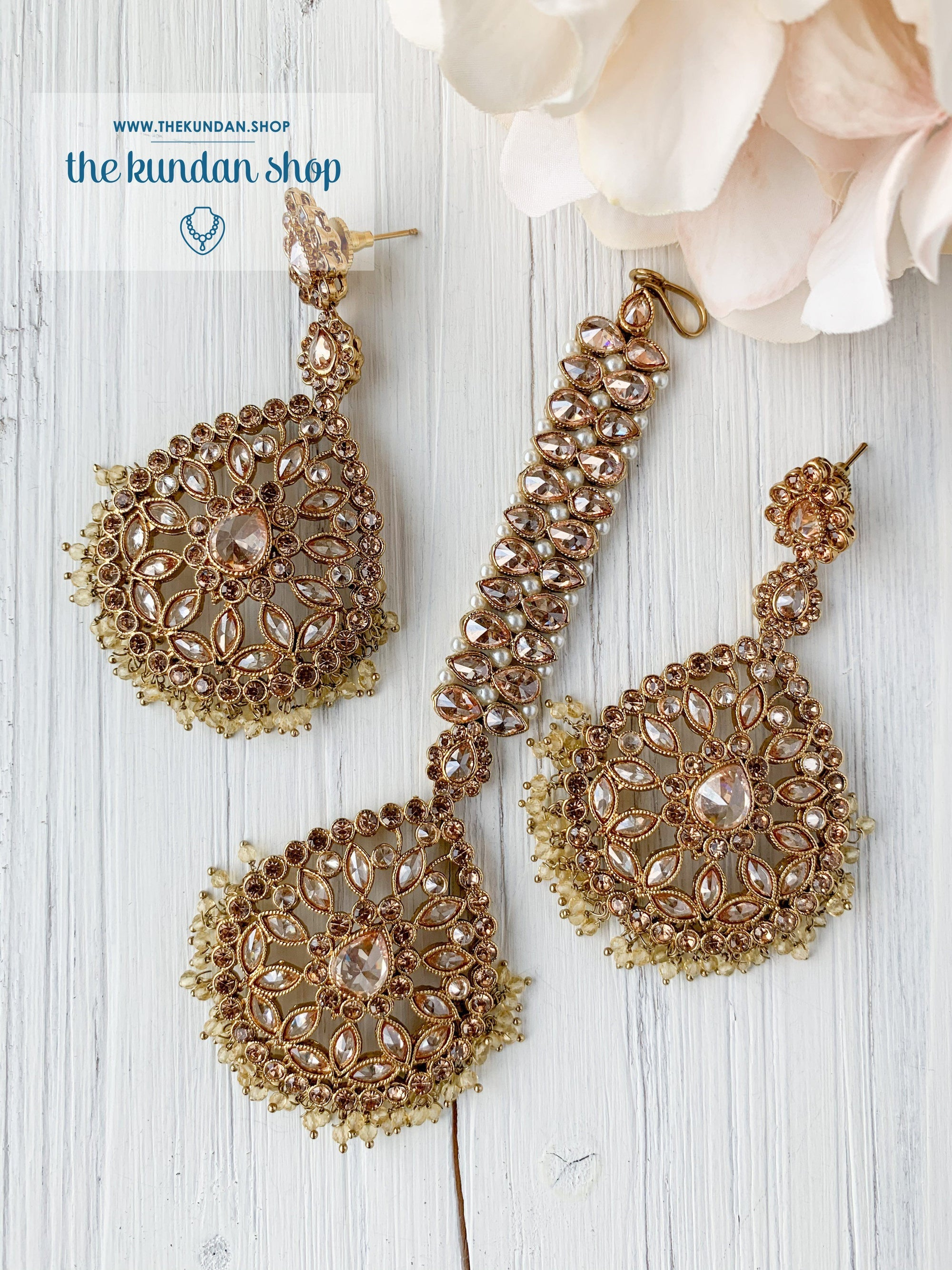 Infinite Love in Pastel Yellow Earrings + Tikka THE KUNDAN SHOP