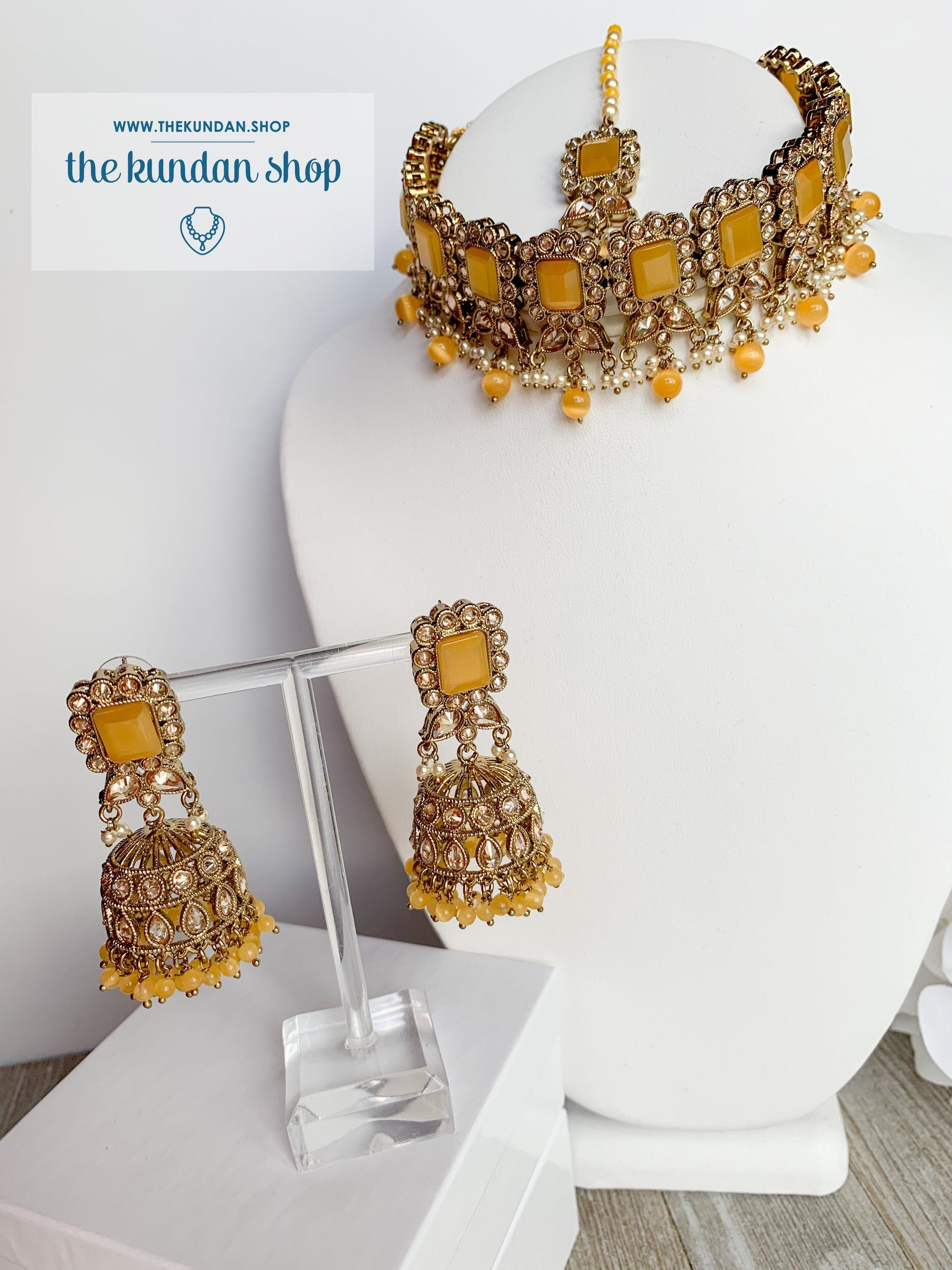 Valiant in Yellow Necklace Sets THE KUNDAN SHOP
