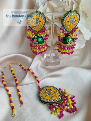 Ironic in Yellow Green Earrings + Tikka THE KUNDAN SHOP