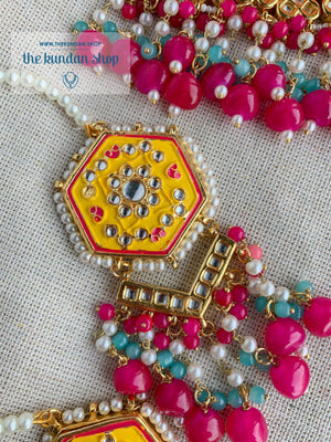 Ethereal in Yellow & Pink Necklace Sets THE KUNDAN SHOP
