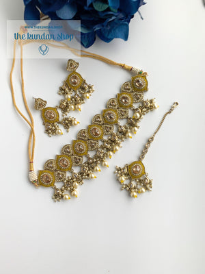 Entangled in Yellow Necklace Sets THE KUNDAN SHOP