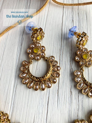 A Love of Polki in Yellow Necklace Sets THE KUNDAN SHOP