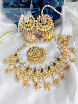 Storytelling in Yellow Necklace Sets THE KUNDAN SHOP