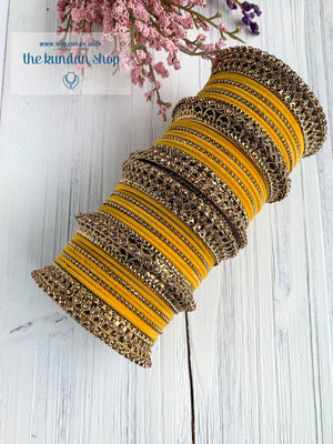 Yellow Velvet & Bronze Bangle Set Bangles THE KUNDAN SHOP