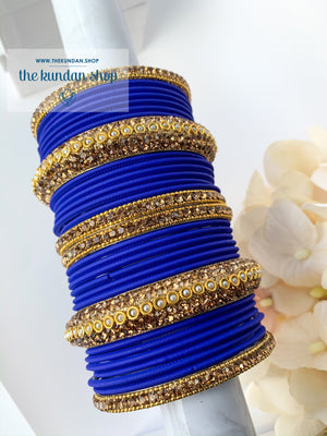 Rhinestone & Matte Royal Blue Bangles, Bangles - THE KUNDAN SHOP