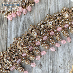 Extravagance in Baby Pink, Necklace Sets - THE KUNDAN SHOP