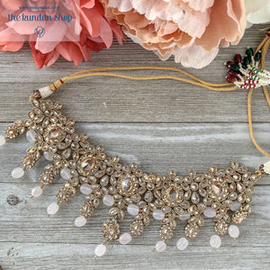 Extravagance in Pearly Pink, Necklace Sets - THE KUNDAN SHOP