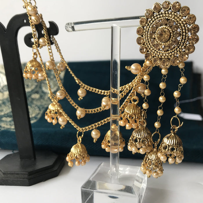 Round Chandelier Sahara Earrings with Pearls, Sahara Earrings - THE KUNDAN SHOP