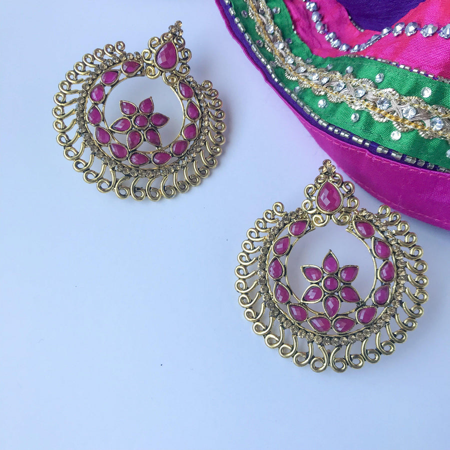 Round Coloured Earrings, Earrings + Tikka - THE KUNDAN SHOP