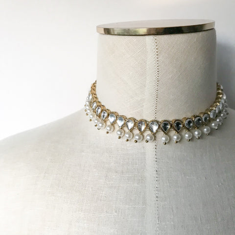 White Pearl Simple Choker, Necklace Sets - THE KUNDAN SHOP
