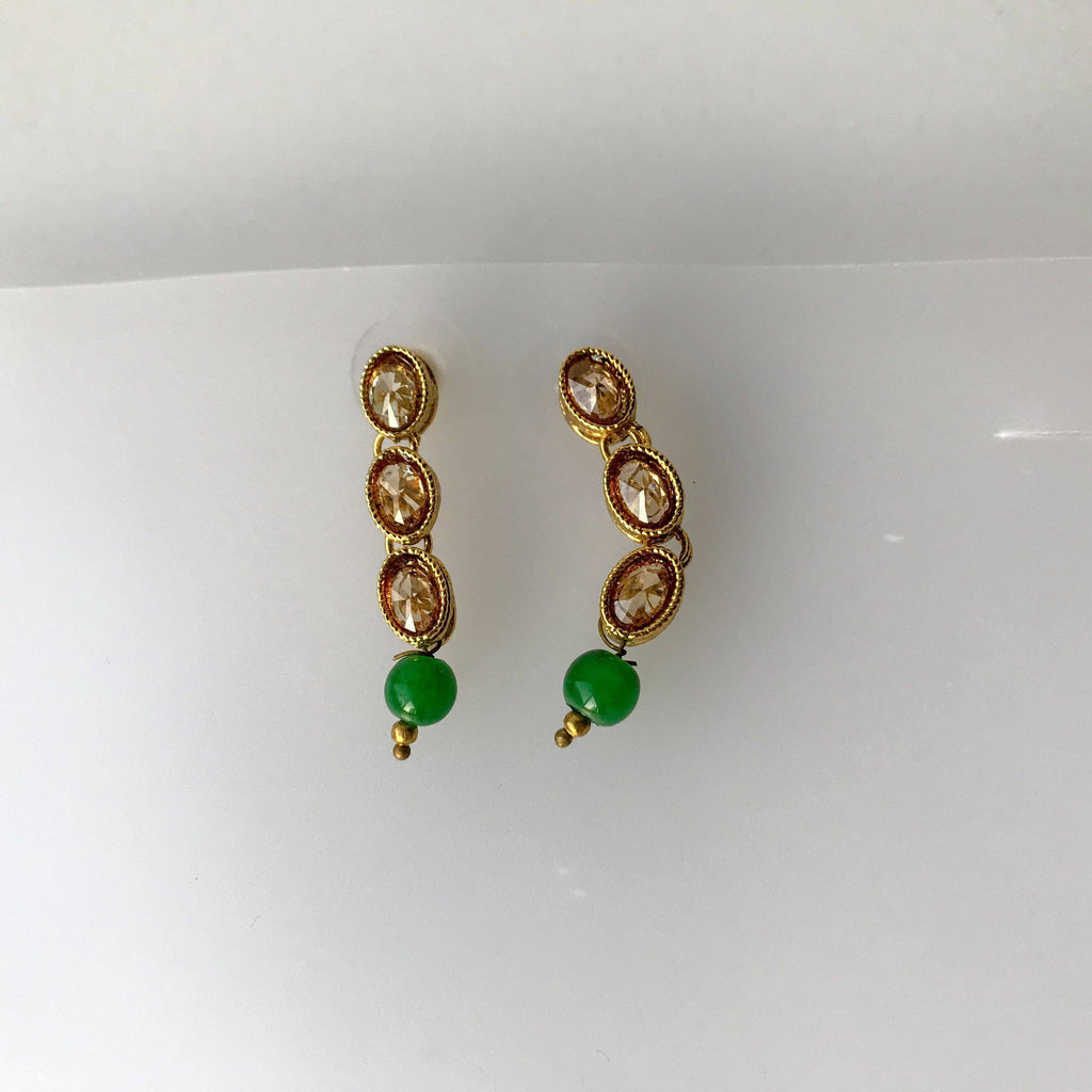 Single Polki & Green, Necklace Sets - THE KUNDAN SHOP