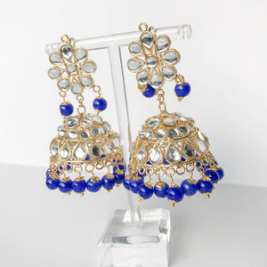 Summer's End Jumki Set - Dark Blue, Earrings + Tikka - THE KUNDAN SHOP