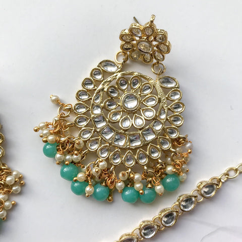 Dazzlin' Set - Teal Green, Earrings + Tikka - THE KUNDAN SHOP