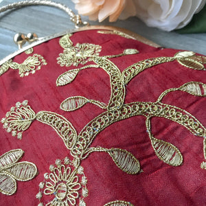 Classic Maroon Potli, Clutch - THE KUNDAN SHOP