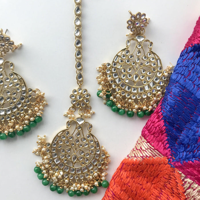 Talk of the Town - Green, Earrings + Tikka - THE KUNDAN SHOP
