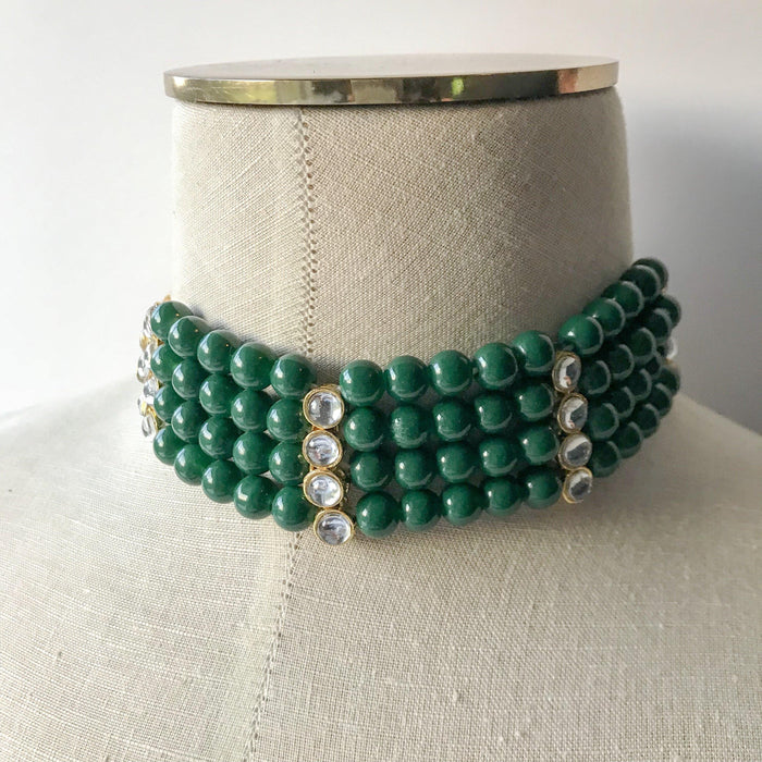 Green Bead Choker, Necklace Sets - THE KUNDAN SHOP