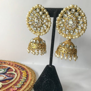 Teardrop Top Jumka, Earrings + Tikka - THE KUNDAN SHOP
