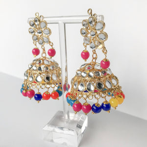 Summer's End Jumki Set - Multi, Earrings + Tikka - THE KUNDAN SHOP