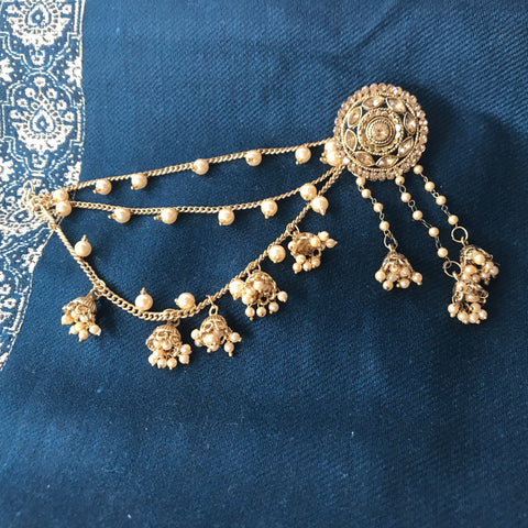Gems of Chandelier Sahara Earrings with Pearls, Sahara Earrings - THE KUNDAN SHOP