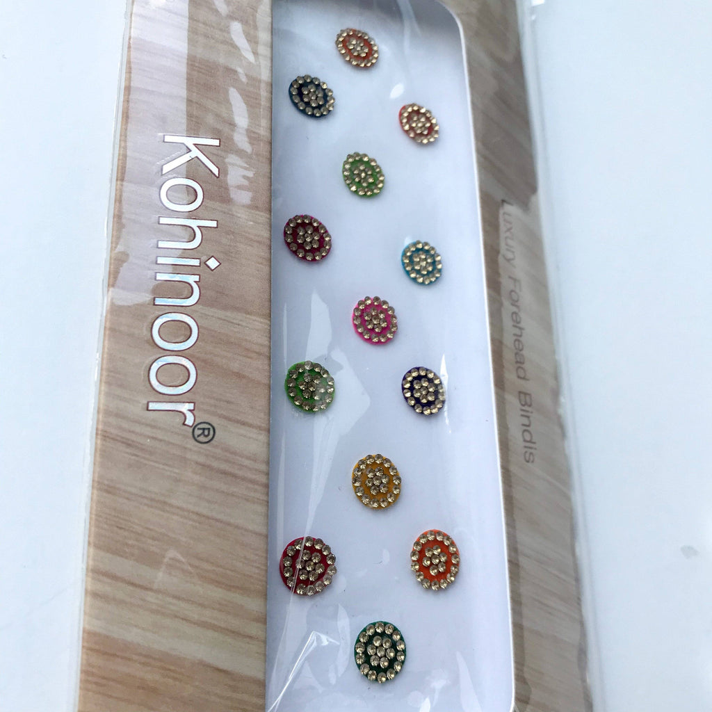 13 PC Gold Rhinestone Bindi, Bindis - THE KUNDAN SHOP